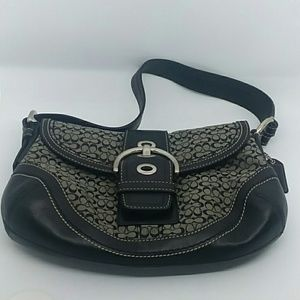 COACH Soho Suede Black Leather Shoulder Bag